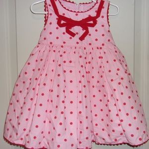 Biscotti Pink Dress with Red Polka Dots Size 2T
